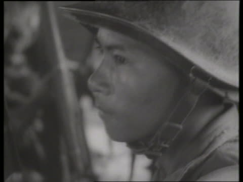 b/w 1960's close up of asian soldier / vietnam / sound - one mid adult man only stock videos & royalty-free footage