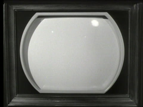B/W 1950's close up of blank television screen