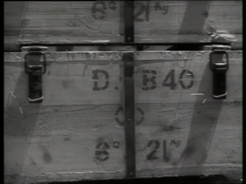 b/w 1960's close up of box of military supplies / vietnam / sound - crate stock videos & royalty-free footage