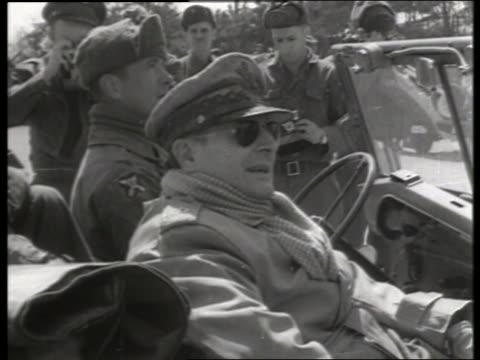 B/W 1950's close up of Douglas MacArthur talking in offroad vehicle/ Korea / NO