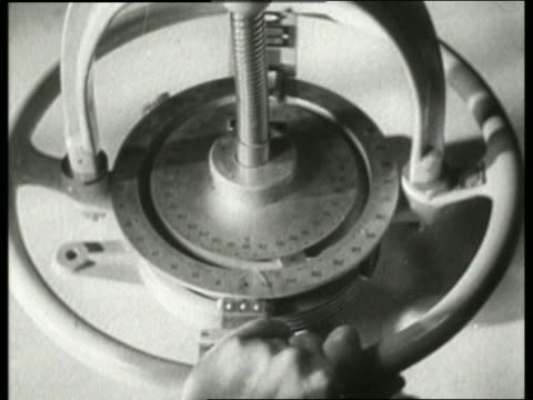 b/w 1930's close up of gauge or measuring tool (radio?) / no sound - {{asset.href}} stock videos & royalty-free footage