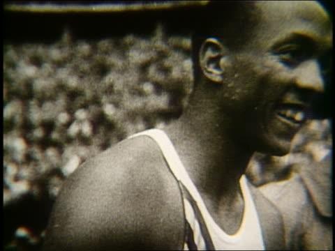 B/W 1930's close up of Jesse Owens smiling