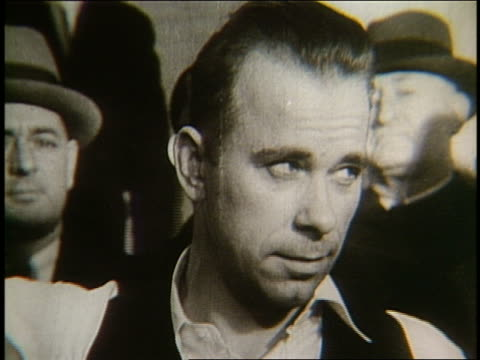 b/w 1930's close up of john herbert dillinger - john dillinger stock-videos und b-roll-filmmaterial