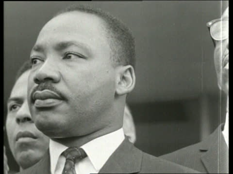 B/W 1960's close up of Martin Luther King / Montgomery Al / SOUND