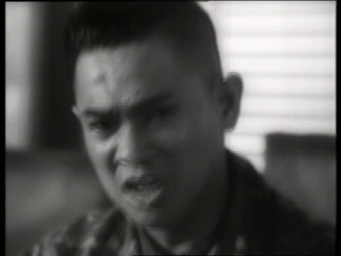 b/w 1960's close up of military governor of saigon talking / vietnam / sound - only mid adult men stock videos & royalty-free footage