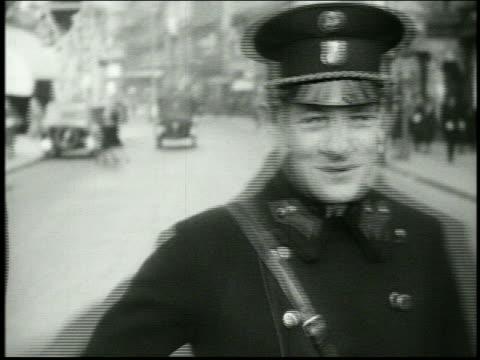 b/w 1920's close up of policeman / vienna, austria - vienna austria stock videos & royalty-free footage