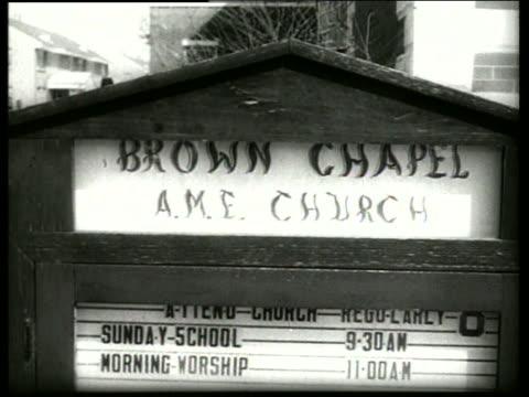 b/w 1960's close up of sign for church / selma alabama / sound - selma alabama stock videos & royalty-free footage
