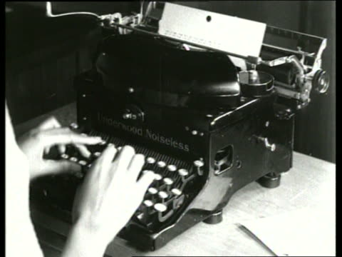 b/w 1930's close up of woman's hands typing on typewriter / sound - sekretärin stock-videos und b-roll-filmmaterial