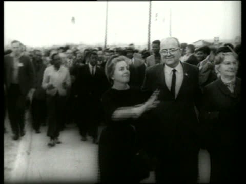 B/W 1960's crowd in civil rights march / Selma Alabama / SOUND