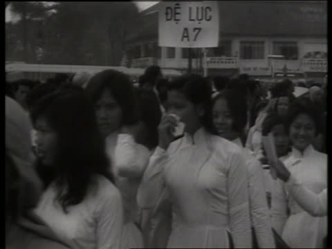 B/W 1960's crowd of Vietnamese Buddhists demonstrating / Saigon / SOUND