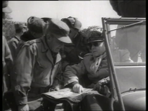 B/W 1950's Douglas MacArthur talking to soldiers in offroad vehicle / Korea / NO