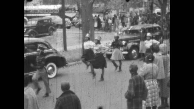 1940's - douglass high school marching band in parade, greenwood, tulsa, oklahoma, usa - african american culture stock videos & royalty-free footage
