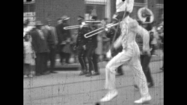 1940's - douglass high school marching band in parade, greenwood, tulsa, oklahoma, usa - marching band stock videos & royalty-free footage