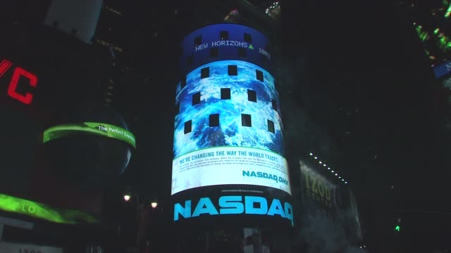 wwf's earth hour 2009 nasdaq signage at the wwf's earth hour 2009 at new york ny - earth hour stock videos & royalty-free footage