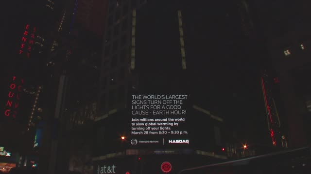 wwf's earth hour 2009 thomson reuters signage at the wwf's earth hour 2009 at new york ny - earth hour stock videos & royalty-free footage