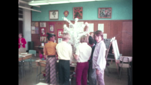 1970's elementary school students making christmas decorations classroom - 1970 stock videos & royalty-free footage