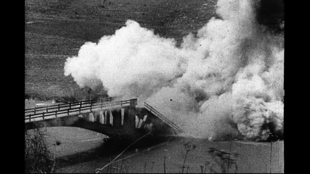 1930's - explosion collapses bridge - collapsing stock videos & royalty-free footage