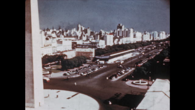 1950's - flying over south america - buenos aires stock videos & royalty-free footage