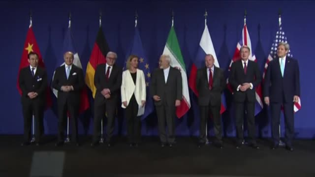 vídeos de stock e filmes b-roll de eu's foreign policy chief federica mogherini and iranian foreign minister mohammad javad zarif hold a press conference during the announcement of an... - 2015