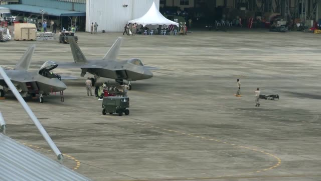F22's From Joint Base Pearl HarborHickam takeoffs and landing at Airbase Butterworth Malaysia in participation with Cope Taufan 14