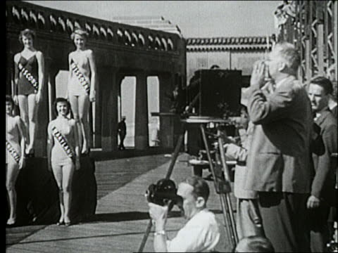 b/w 1940's pan from photographer to miss america contestants / atlantic city - beauty contest stock videos and b-roll footage