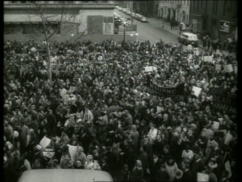 s high angle crowd at civil rights demonstration / sound - black civil rights stock videos & royalty-free footage
