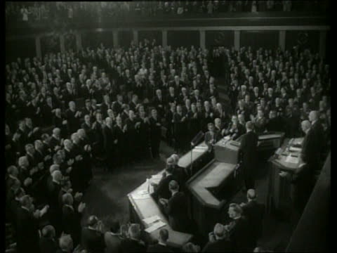 B/W 1960's high angle Lyndon Johnson addresses clapping Congress / SOUND