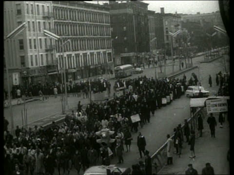 s high angle of civil rights march in city street / sound - black civil rights stock videos & royalty-free footage