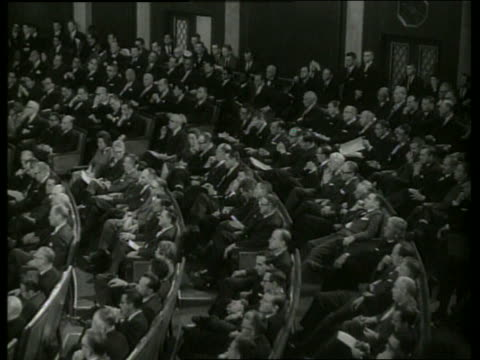 b/w 1960's high angle of members of congress in session / sound - united states congress stock-videos und b-roll-filmmaterial
