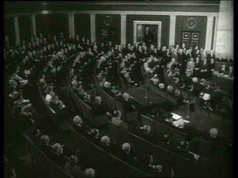 B/W 1960's high angle of members of Congress in session / SOUND