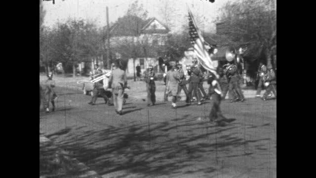 1940's - high school marching band parade, greenwood, tulsa, oklahoma - marching band stock videos & royalty-free footage