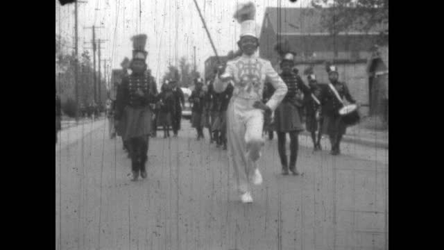 1940's - high school marching bands in parade, greenwood, oklahoma, usa - african american culture stock videos & royalty-free footage