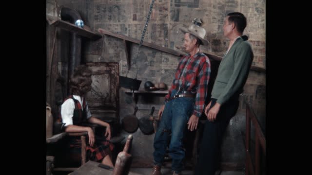 1960's - inside the dutchman's shack attraction at the old west themed legend city amusement park, arizona, usa - illusion stock videos & royalty-free footage