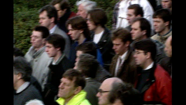 1990's INT People looking at notice boards in Job Centre Workers standing at strike demonstration Job Centre 'Labour Isn't Working' poster