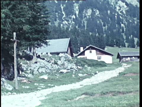1940's ws pan little chapel and alpine meadow / tyrol, austria - tyrol state austria stock videos and b-roll footage