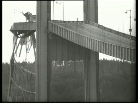 B/W 1940's low angle of collapsed bridge / Tacoma Narrows Bridge / SOUND