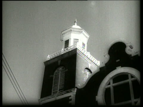 b/w 1960's low angle of top of church / selma alabama / sound - selma alabama stock videos & royalty-free footage