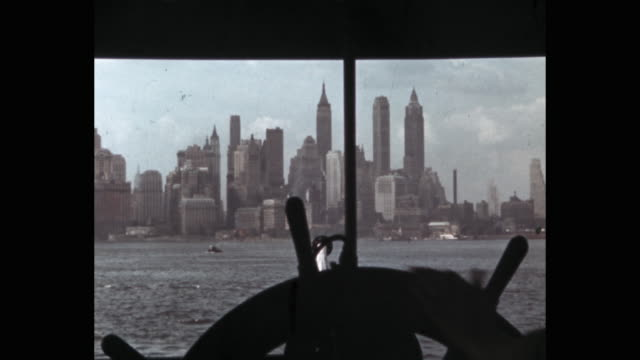 1950's - lower manhattan seen from ferry, new york city, ny, usa - 1941 stock videos & royalty-free footage