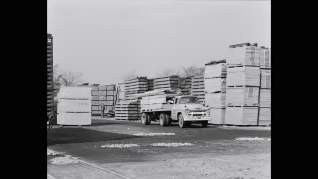 1950's - man driving truck with a load of wood planks - plank stock videos & royalty-free footage