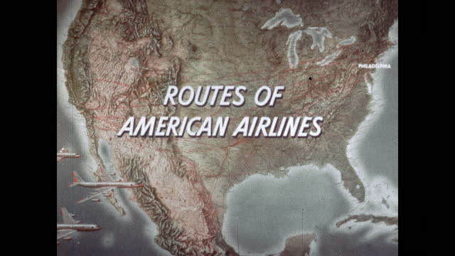 """1960's - map of american airlines us routes - """"archive farms"""" stock videos & royalty-free footage"""