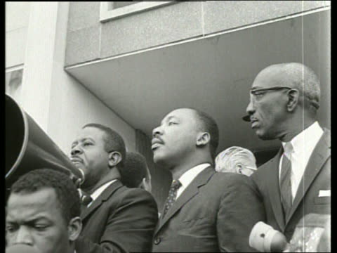 b/w 1960's martin luther king and others at demonstration / montgomery alabama / sound - martin luther religious leader stock videos & royalty-free footage