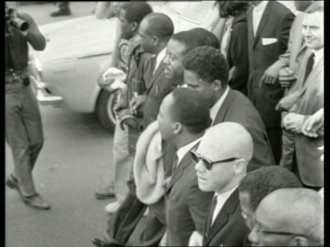 b/w 1960's martin luther king in civil rights march / montgomery alabama / sound - martin luther religious leader stock videos & royalty-free footage