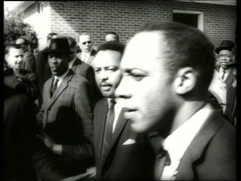 b/w 1960's martin luther king in civil rights march / selma alabama / sound - martin luther religious leader stock videos & royalty-free footage