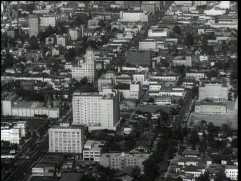 1940's medium aerial over hollywood - hollywood boulevard with traffic - hollywood california stock videos & royalty-free footage