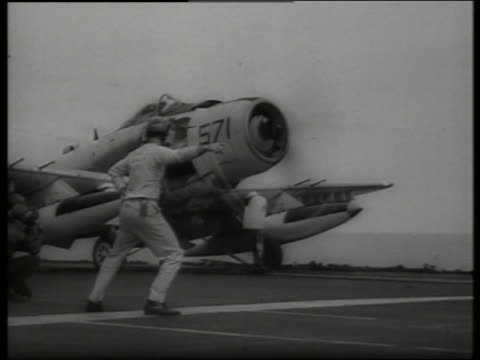 B/W 1960's military airplane taking off from carrier / Vietnam / SOUND