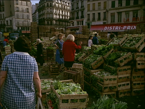 1960's montage - les halles, paris - butcher stock videos & royalty-free footage