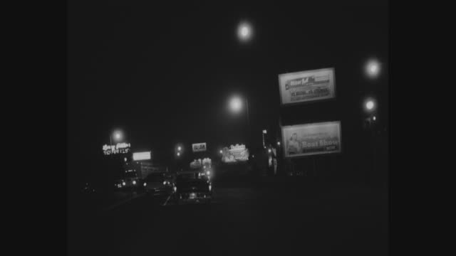 1950's nighttime los angeles car pov - boulevard stock videos & royalty-free footage