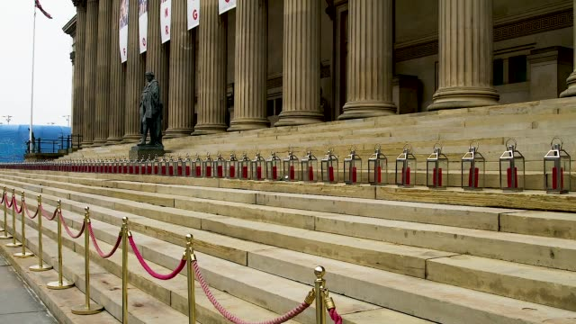 gv's of lanterns and banners outside st george's hall liverpool to commemorate the 96 victims of the hillsborough disaster - hillsborough disaster stock videos and b-roll footage