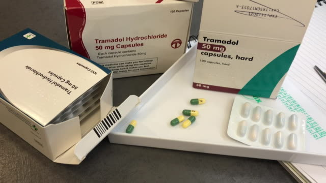 gv's of pharmaceutical drug tramadol a painkiller medicine - painkiller stock videos & royalty-free footage