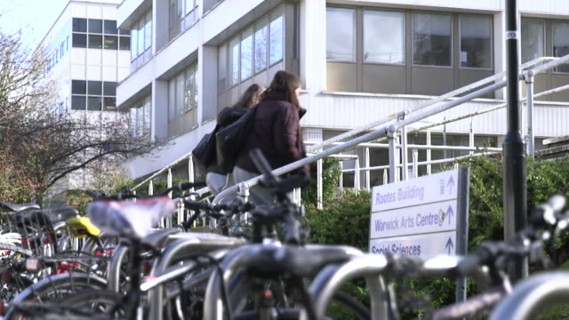 gv's of students walking around the grounds of warwick university - university student stock videos & royalty-free footage
